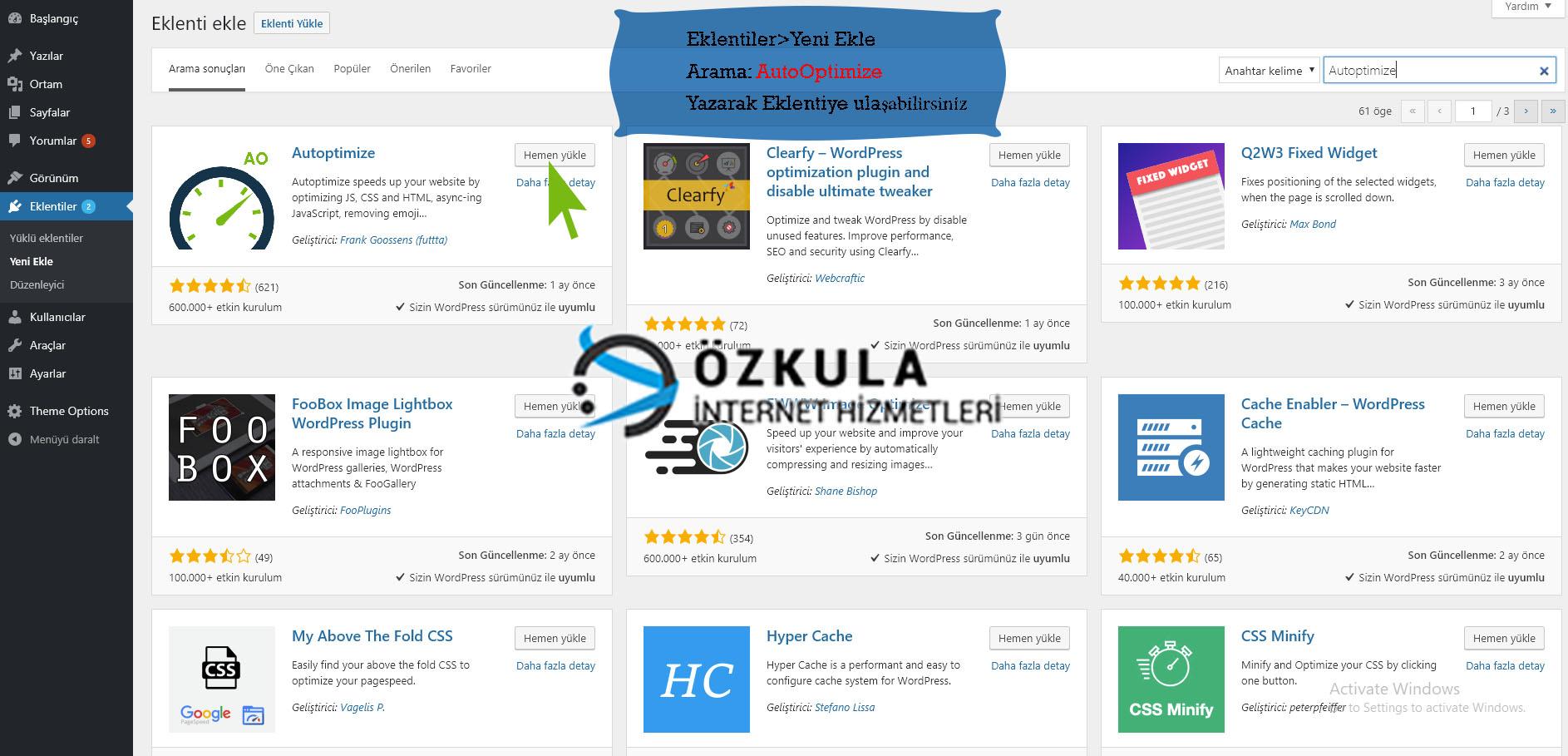 Wordpress Optimize Eklentisi - Ozkula Hosting Blog
